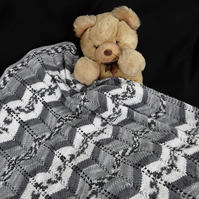 Baby pram blanket hand knitted in greys and white Chevron Afghan - pram cover