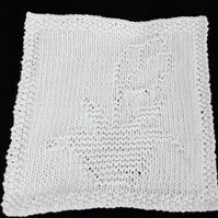 Hand knitted cotton face wash cloth - tulip - flower - mother's day gift