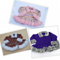 Girls hand knitted fluffy trim cardigan 6 months - 10 years made to order