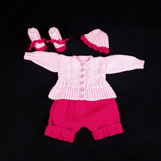 Hand knitted baby pink cardigan shorts hat and bootieset 0 - 3 months