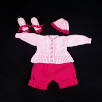 Hand knitted baby pink cardigan shorts hat and bootie set 0 - 3 months