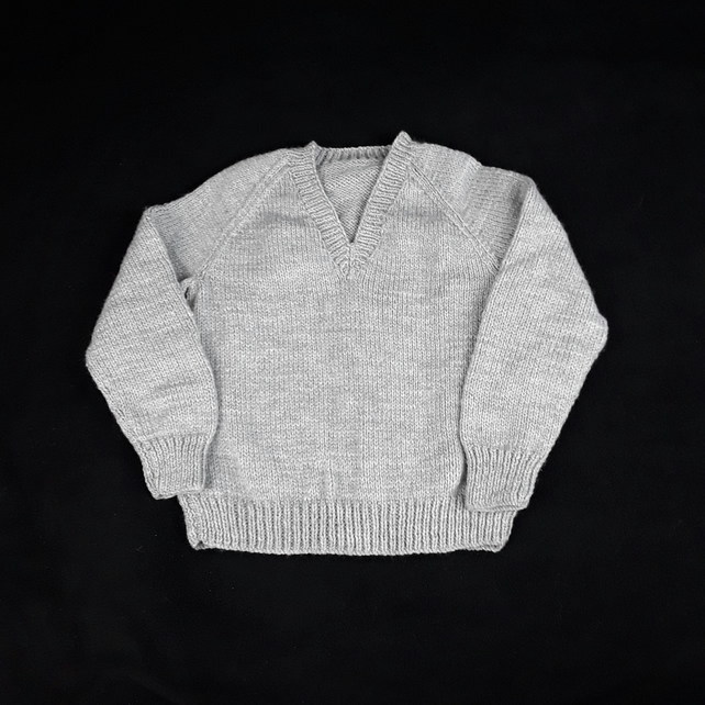 Classic light grey children's hand knitted v neck jumper to fit 5 - 6  years