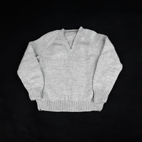 Hand knitted children's light grey v neck jumper to fit 5 - 6  years