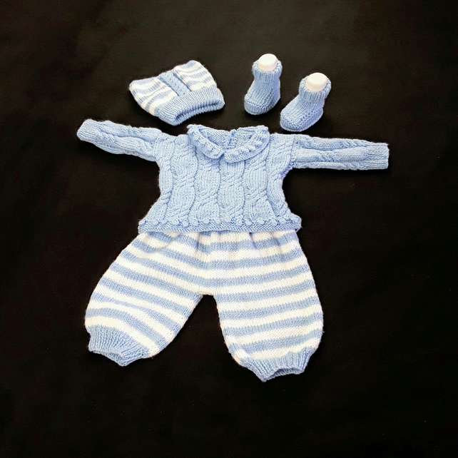 Baby jumper and trousers set hand knitted in blue and white  0 - 3 months