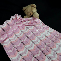 Baby pram blanket hand knitted in pinks and white Chevron Afghan - pram cover