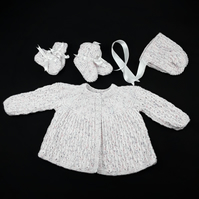 Hand knitted baby matinée set to fit 6 - 12 months - white with coloured dots