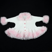 Baby girls white cardigan - fluffy pink trim - 20 inch chest - 6-12 months