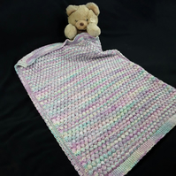 Hand knitted baby multicoloured bobble pram blanket - lilac, pink, green