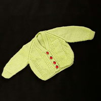 Hand knitted baby cardigan in lime green - 0-3 months - ladybug buttons