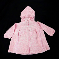 Baby girl hooded cardigan hand knitted in pink and cream 0-3 months