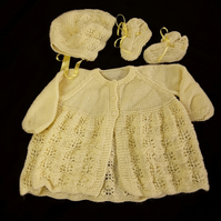 Hand knitted baby cardigan bonnet booties and mittens set  6 - 12 months