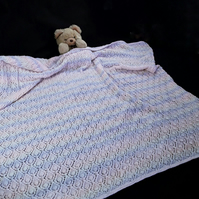 Hand knitted heirloom baby shawl blanket afghan - receiving blanket