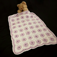 White and lilac sparkly baby pram blanket crocheted by hand flower design