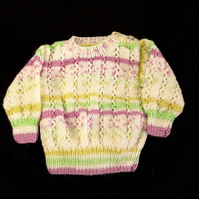 Baby multicolour jumper hand knitted in cream, mauve, green, yellow 3 - 6 months