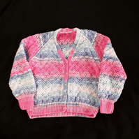 Hand knitted girls sparkly pink and blue cardigan to fit 32 inch chest 8 years