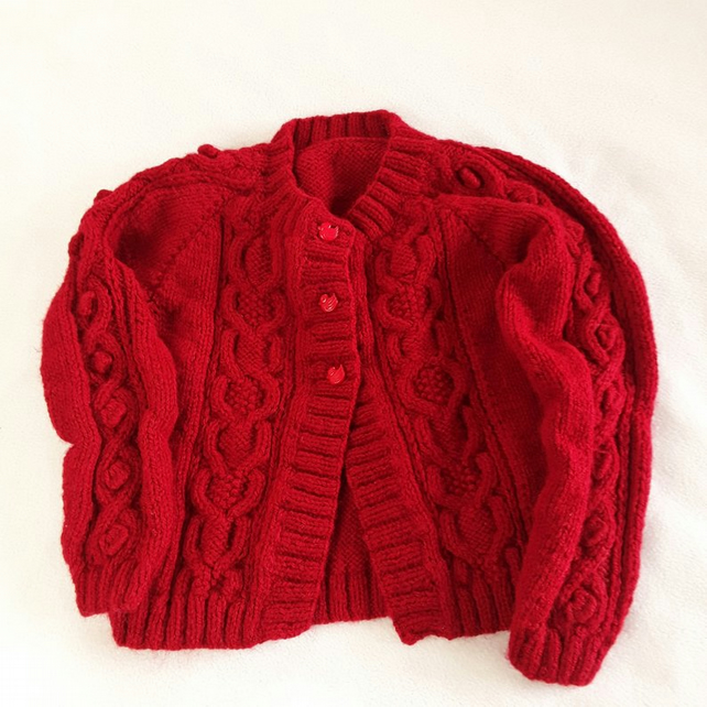 Hand knitted baby cardigan to fit 22 inch chest - burgundy red - cable pattern
