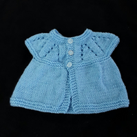 Hand knitted sleeveless baby cardigan hand knitted in blue - newborn
