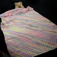 Hand crocheted baby cot bed size pink multicolour c2c blanket