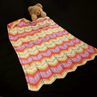 Hand knitted baby pram blanket - multi colour chevron - baby Afghan - pram cover