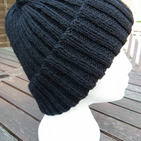Hand knitted traditional black beanie hat mens ladies unisex