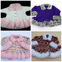 Girls hand knitted fluffy trim peplum cardigan made to order