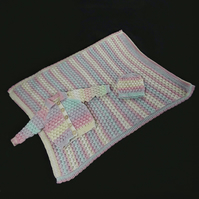 Hand knitted matching baby blanket, cardigan and hat, bubble stitch pattern
