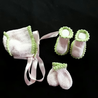 Hand knitted pink and green baby bonnet booties and mittens set 0 - 3 months
