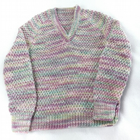 Hand knitted baby girls mauve green jumper 1 - 2 years 22 inch chest - knitted