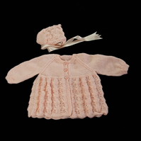 Hand knitted baby cardigan and bonnet set 6 - 12 months - knitted baby clothes