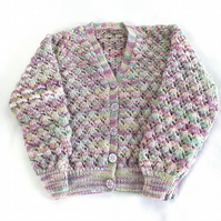 Hand knitted baby girls mauve green cardigan 2 - 3 years 26 inch chest - knitted