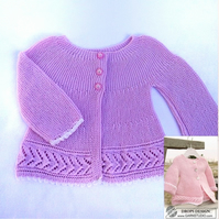 Hand knitted baby cardigan jacket knitted from side to side birth to 4 years