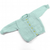 Hand knitted duck egg blue baby boy girl cardigan  0 - 3 months round neck