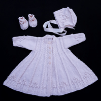 Hand knitted baby cardigan, bonnet and booties 0 - 6 months made to order