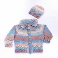 Hand knitted baby cardigan and hat 0 - 6 months - baby clothes matinee set