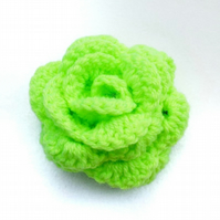 Hair pony tail band large bright green crochet rose flower hair bobble hair tie