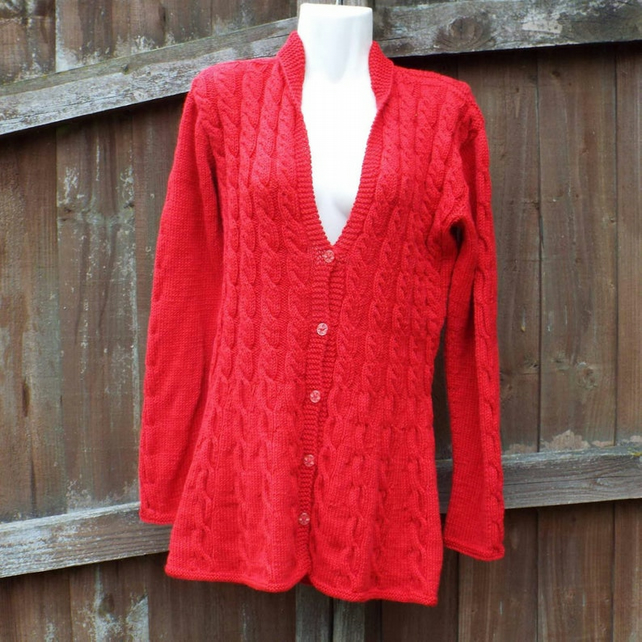 Hand knitted ladies aran jacket cardigan cabled S - XXXl