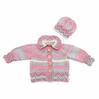 Hand knitted baby bobble trim cardigan and hat 0 - 6 months - baby clothes