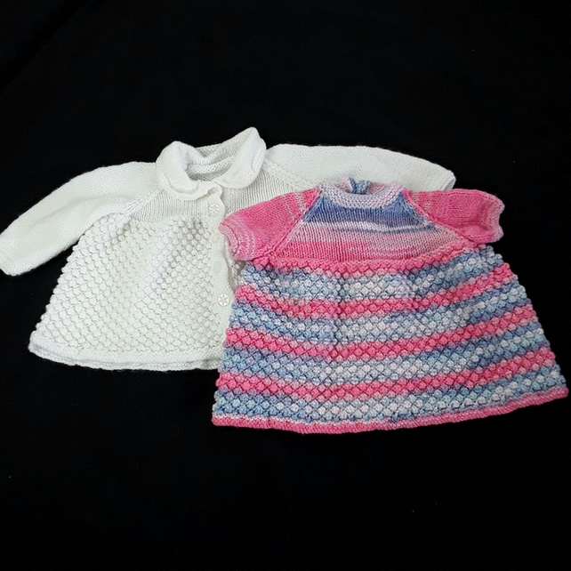 Hand knitted baby white cardigan and sparkly pink and blue dress - knitted baby