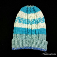 Baby blue and cream hat hand knitted in aran yarn with cable design 6 months
