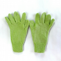 Hand knitted lime green children's gloves - winter gloves - full fingered gloves