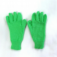 Hand knitted bright green children's gloves - winter gloves - full fingered