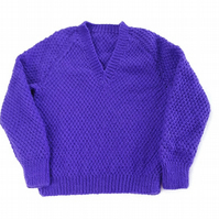 Hand knitted textured purple jumper - sweater - 26 inch chest - boys girls
