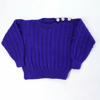 Hand knitted purple jumper - sweater - to fit 26 inch chest - boys - girls