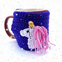 Purple hand crocheted mug cosy with white unicorn with pink sparky mane