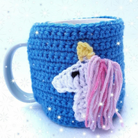 Blue unicorn lover hand crocheted mug cosy with white unicorn with pink and blue