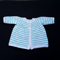 Hand knitted baby girl boy cardigan in white with green stripes 0 - 3 months