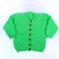 Hand knitted baby cardigan 22 inch chest - bright green with ladybug buttons