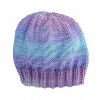 Hand knitted baby beanie hat pastel stripes pink lilac green lemon 0 - 3 months