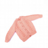 Peach hand knitted baby cardigan - 3 - 6 months - knitted baby clothes