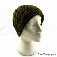 Hand knitted mens cable knit beanie hat in olive green - gents beanie hat